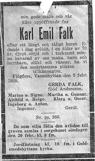Karl Emils död tillkännagivs